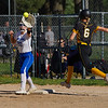 Pioneer Panthers infielder Brooklyn Borges (6) beats a throw to first base during the second inning of the sectional semifinal between the Pioneer Panthers and Boone Grove Wolves on Wednesday, May 26, 2021 in Winamac.