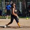 Pioneer Panthers pitcher Hailey Gotshall (15) throws the ball during the first inning of the sectional semifinal between the Pioneer Panthers and Boone Grove Wolves on Wednesday, May 26, 2021 in Winamac.