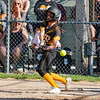 Pioneer Panthers infielder Kylie Farris (2) hits the ball during the third inning of the sectional semifinal between the Pioneer Panthers and Boone Grove Wolves on Wednesday, May 26, 2021 in Winamac.
