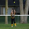 Pioneer Panthers outfielder Adeline Cripe (1) catches a fly ball during the third inning of the sectional semifinal between the Pioneer Panthers and Boone Grove Wolves on Wednesday, May 26, 2021 in Winamac.