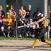 Pioneer Panthers infielder Hailey Cripe (12) hits a fly ball during the first inning of the sectional semifinal between the Pioneer Panthers and Boone Grove Wolves on Wednesday, May 26, 2021 in Winamac.