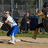 Pioneer Panthers infielder Kylie Farris (2) tries to beat a throw to first base during the third inning of the sectional semifinal between the Pioneer Panthers and Boone Grove Wolves on Wednesday, May 26, 2021 in Winamac.