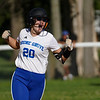 Boone Grove Wolves infielder Jamie Botma (20) celebrates after hitting a solo home run during the second inning of the sectional semifinal between the Pioneer Panthers and Boone Grove Wolves on Wednesday, May 26, 2021 in Winamac.