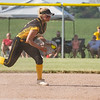 Pioneer Panthers infielder Hailey Cripe (12) fields a ground ball during the third inning of the semistate championship game between the Fairfield Falcons and Pioneer Panthers on Saturday, June 5, 2021 in Chalmers.