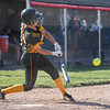 Pioneer Panthers infielder Crystabelle Blickenstaff (10) hits an RBI single during the second inning of the semistate championship game between the Fairfield Falcons and Pioneer Panthers on Saturday, June 5, 2021 in Chalmers.