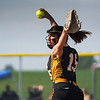 Pioneer Panthers pitcher Hailey Gotshall (15) throws during the first inning of the semistate championship game between the Fairfield Falcons and Pioneer Panthers on Saturday, June 5, 2021 in Chalmers.