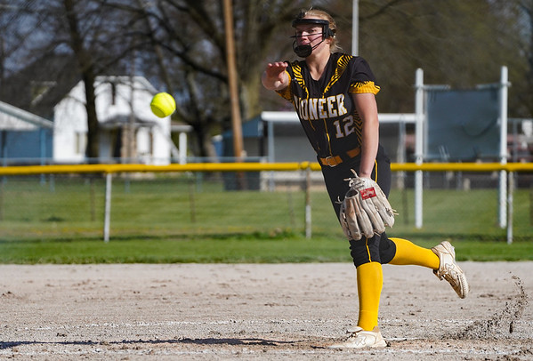 Pioneer Panthers pitcher Hailey Cripe (12) releases a pitch during the first inning of a game between the Pioneer Panthers and Lewis Cass Kings on Thursday, April 22, 2021 in Royal Center.