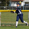 A Lewis Cass Kings outfielder throws from the fence during the third inning of a game between the Pioneer Panthers and Lewis Cass Kings on Thursday, April 22, 2021 in Royal Center.