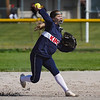 A Lewis Cass Kings player throws to first base during the first inning of a game between the Pioneer Panthers and Lewis Cass Kings on Thursday, April 22, 2021 in Royal Center.