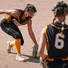 Pioneer Panthers pitcher Hailey Gotshall (15) looks to flip a ground ball to infielder Brooklyn Borges (6) during the second inning of the Class 2A state championship between the Pioneer Panthers and Sullivan Golden Arrows on Saturday, June 12, 2021 in Greenwood.