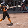 Pioneer Panthers catcher Mackenzie Walker (3) hits the ball during the first inning of the Class 2A state championship between the Pioneer Panthers and Sullivan Golden Arrows on Saturday, June 12, 2021 in Greenwood.
