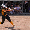 Pioneer Panthers infielder Hailey Cripe (12) hits the ball during the third inning of the Class 2A state championship between the Pioneer Panthers and Sullivan Golden Arrows on Saturday, June 12, 2021 in Greenwood.