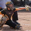 Pioneer Panthers catcher Mackenzie Walker (3) catches a pitch during the first inning of the Class 2A state championship between the Pioneer Panthers and Sullivan Golden Arrows on Saturday, June 12, 2021 in Greenwood.
