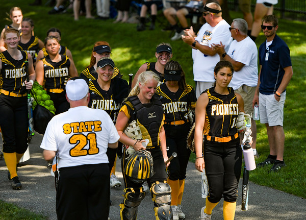 Pioneer Panthers walk to the dugout before the Class 2A state championship between the Pioneer Panthers and Sullivan Golden Arrows on Saturday, June 12, 2021 in Greenwood.