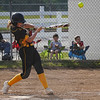 Pioneer Panthers catcher Mackenzie Walker (3) hits the ball during the first inning of the regional championship between the Wheeler Bearcats and Pioneer Panthers on Tuesday, June 1, 2021 in Valparaiso.