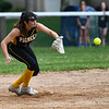 Pioneer Panthers pitcher Hailey Gotshall (15) catches the ball at second base to get an out during the fifth inning of the sectional final between the Pioneer Panthers and Winamac Warriors on Thursday, May 27, 2021 in Winamac.