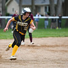 Pioneer Panthers infielder Hailey Cripe (12) heads to third base during the third inning of the sectional final between the Pioneer Panthers and Winamac Warriors on Thursday, May 27, 2021 in Winamac.
