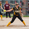 Pioneer Panthers pitcher Hailey Cripe (12) throws during the first inning of the sectional final between the Pioneer Panthers and Winamac Warriors on Thursday, May 27, 2021 in Winamac.