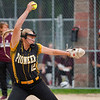 Pioneer Panthers infielder Hailey Cripe (12) throws the ball during the first inning of the sectional final between the Pioneer Panthers and Winamac Warriors on Thursday, May 27, 2021 in Winamac.