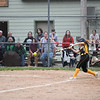 Pioneer Panthers catcher Mackenzie Walker (3) hits an RBI double during the third inning of the sectional final between the Pioneer Panthers and Winamac Warriors on Thursday, May 27, 2021 in Winamac.