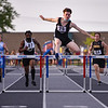 Logansport's Sam Dexter jumps the last hurdle in the first final of the 300 meter hurdles during the boys track and field sectional at Kokomo High School on Thursday, May 20, 2021 in Kokomo.