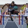 Pioneer's Addai Lewellen jumps the last hurdle in the second 300 meter hurdles final during the boys track and field sectional at Kokomo High School on Thursday, May 20, 2021 in Kokomo.