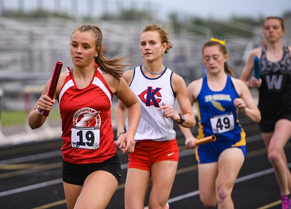 Logansport's Erica White runs in the 3,200 meter relay during the girls track and field sectional at Western High School on Tuesday, May 18, 2021 in Russiaville.