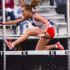 Lewis Cass' Liberty Scott competes in the 100 meter hurdles during the girls track and field sectional at Western High School on Tuesday, May 18, 2021 in Russiaville.