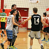 STEPHEN BROOKS | THE GOSHEN NEWS<br /> Members of Team Lights Out slap hands after winning a point in Saturday's exhibition match against Team Pineapple at Westview High School. Team Pineapple, led by four-time Olympian and gold medalist Lloy Ball, and Team Lights Out, led by USAV national champion Harshil Thaker, played an exhibition match with all proceeds going to Haven of Hope Ministries.