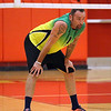 STEPHEN BROOKS   THE GOSHEN NEWS<br /> Lloy Ball of Team Pineapple looks on before a serve during Saturday's exhibition charity game against Team Lights Out at Westview High School. Ball, a four-time Olympian and gold medalist, leads Team Pineapple while Team Lights Out is led by USAV national champion Harshil Thaker. Proceeds from the event went to to Haven of Hope Ministries.
