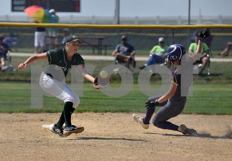 -Messenger photo by Britt Kudla<br /> Maddie Rolling of North Union misses the tag against Logan-Magnolia Kylan Straight during class 2A consolation semi-finals on Wednesday at Rogers Park