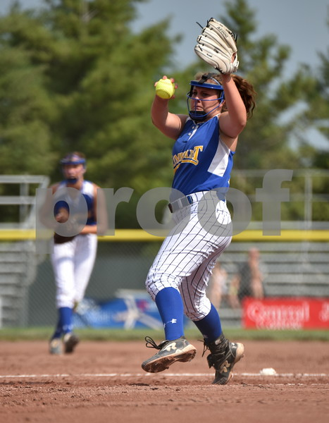 -Messenger photo by Britt Kudla<br /> Ellie Jacobson of Humboldt pitches against Sioux Center during class 3A consolation finals on Wednesday