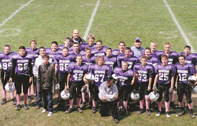 Keystone eighth-grade Patriot Athletic Conference champion football team: first row, left to right, Brandon Radar, Clayton Jones, Brock Cooper, head coach Dennis Szalai, Matt Dabrilovic, Josh McGlaughlin, Clay Hartley. Second rpw, left to right, Quinn Morgan, Robert Assanakis, Darren Rankin, Zack Washington, Blake Benko, Nick McGalughlin, Brandon Buttolph, Denny Szalai. Third row, left to right, Ben Ziemba, Taylor Collins, Ronnie Shaw, C.J. Conrad, Alex Bohach, David Beall, Jacob Miller, Ryan Tobicash, Damon Buchanan, Tyler Gandee, Jacob Mezera, assistant coach Eric Morgan, assistant coach Greg Payne.
