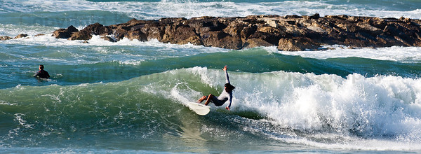 Surfing Tel Aviv Beachfront.Mediterranean sea