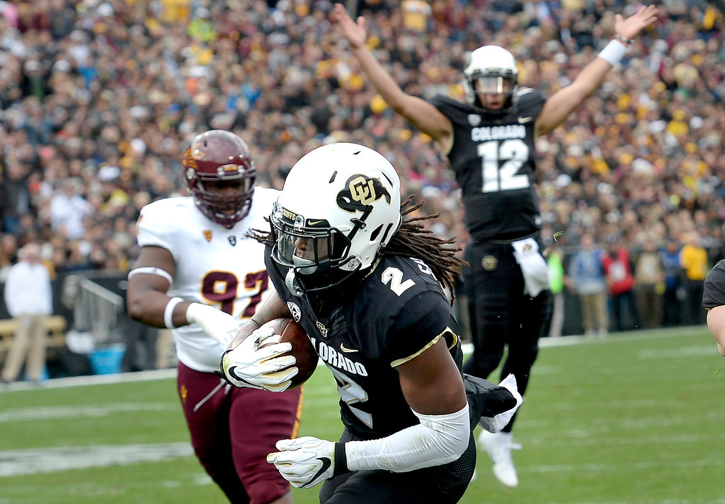 . BOULDER, CO: October 6, 2018: University of Colorado\'s Laviska Shenault scores his second touchdown on a pass from Steven Montez  during  the game with Arizona State on October 6, 2018. (Photo by Cliff Grassmick/Staff Photographer)