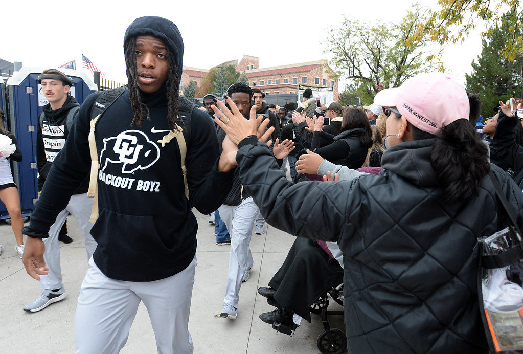 . BOULDER, CO: October 6, 2018:  Laviska Shenault greets fans before the game with Arizona State on October 6, 2018. (Photo by Cliff Grassmick/Staff Photographer)