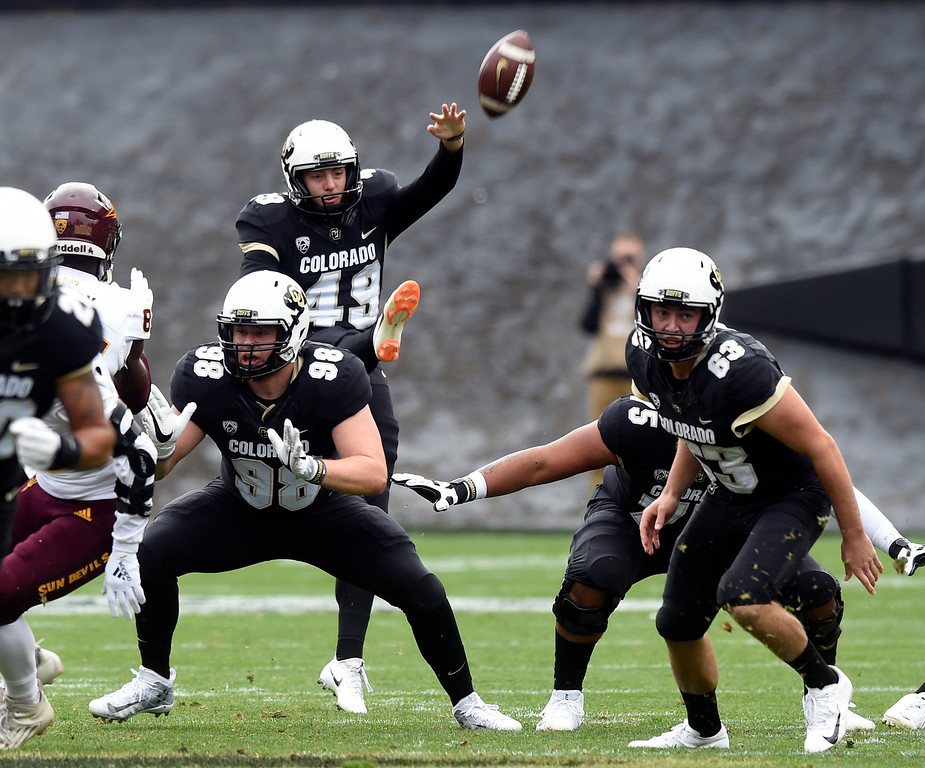 . BOULDER, CO: October 6, 2018: University of Colorado\'s  punter Davis Price  during  the game with Arizona State on October 6, 2018. (Photo by Cliff Grassmick/Staff Photographer)