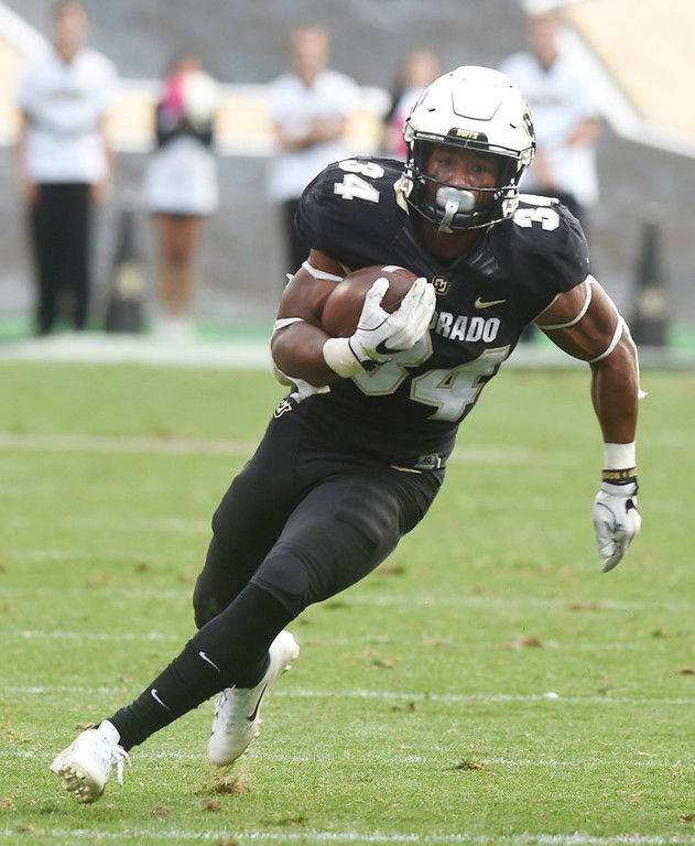 . BOULDER, CO: October 6, 2018: University of Colorado\'s Travon McMillian in the redzone  during  the game with Arizona State on October 6, 2018. (Photo by Cliff Grassmick/Staff Photographer)