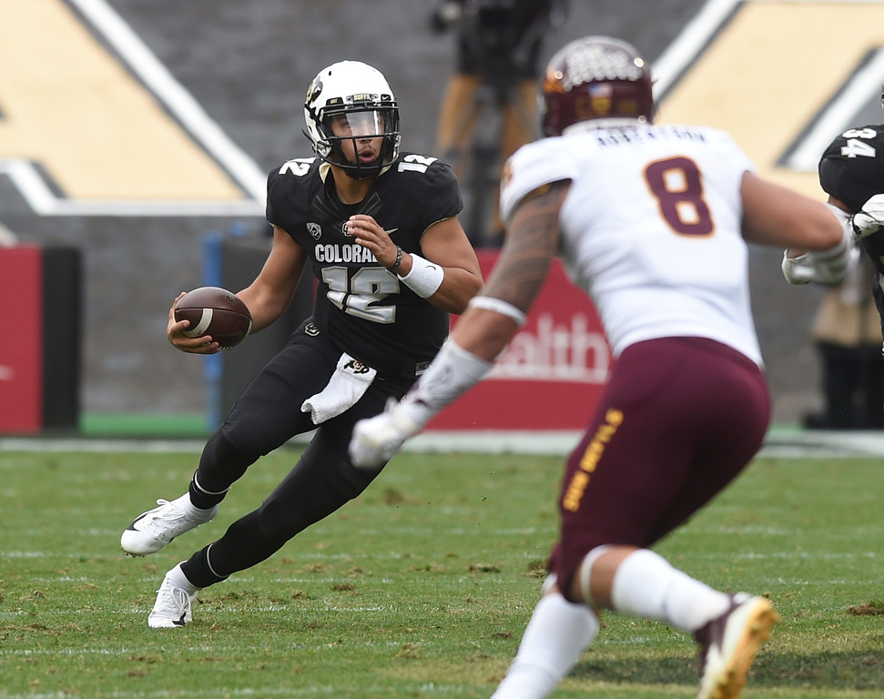 . BOULDER, CO: October 6, 2018: University of Colorado\'s  Steven Montez on the move during  the game with Arizona State on October 6, 2018. (Photo by Cliff Grassmick/Staff Photographer)