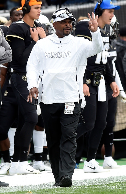 . BOULDER, CO: October 6, 2018: University of Colorado\'s assistant coach, Darian Hagan,  during  the game with Arizona State on October 6, 2018. (Photo by Cliff Grassmick/Staff Photographer)