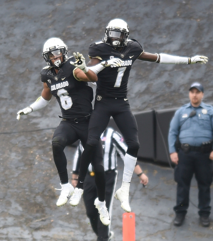 . BOULDER, CO: October 6, 2018: University of Colorado\'s  Evan Worthington, left, and Delrick Abrams, celebrate the defensive play by Abrams  during  the game with Arizona State on October 6, 2018. (Photo by Cliff Grassmick/Staff Photographer)