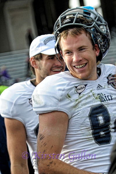 #84 Klein Kubiak is all smiles after the win by Rice.