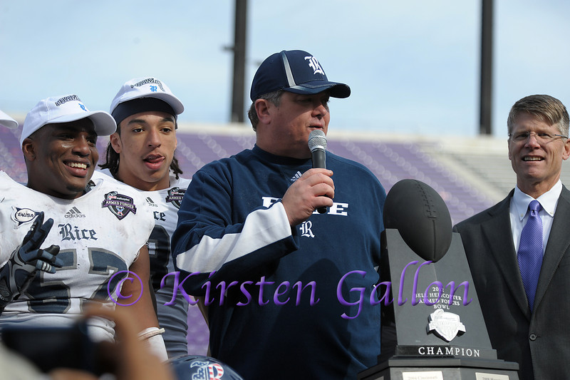 Rice Head Coach David Bailiff addresses the fans after winning the Armed Forces Bowl.