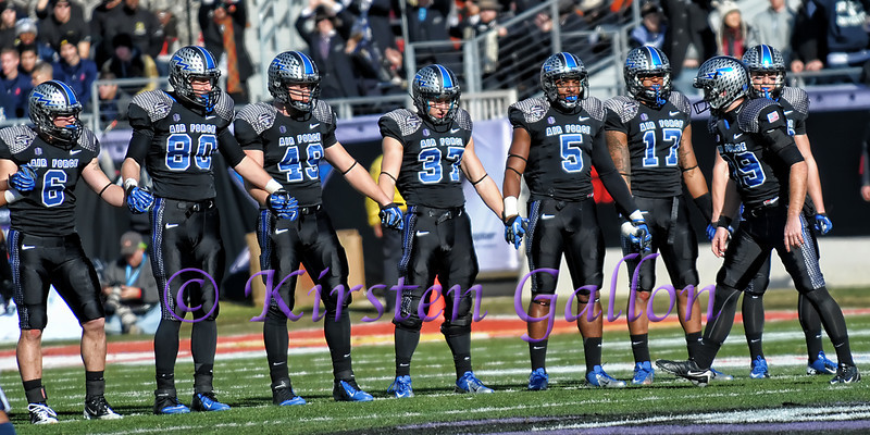 Air Force special teams players get ready for the opening kick-off. #6 Connor Healy, #80 Garrett Griffin, #49 Joey Nichol, #37 Anthony LaCoste, #5 Dexter Walker, #17 Jamal Byrd, #99 Briceton Cannada