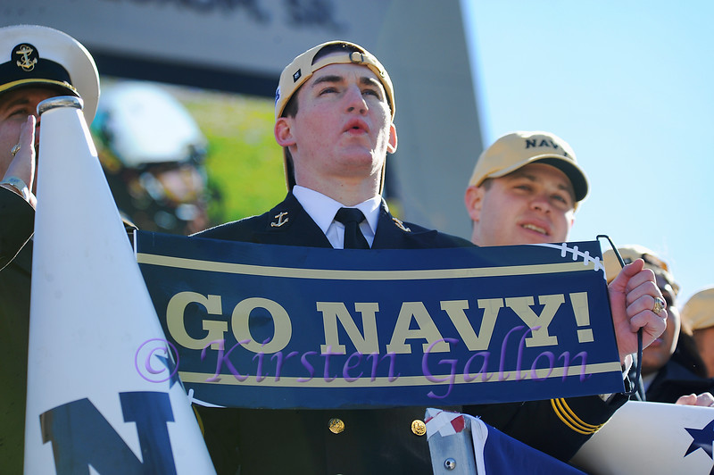 A Midshipman showing his support for the team.