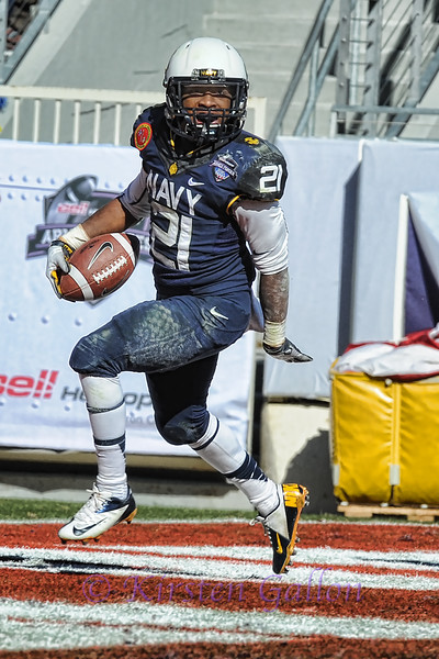 DeBrandon Sanders after scoring a touchdown for Navy.