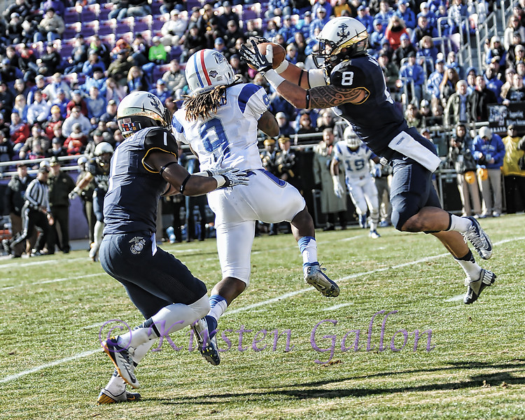 S Wave Ryder intercepts a pass intended for WR Kyle Griswold.