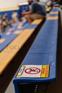 A sign informs visitors from Arp High School to only use every other bleacher for seating due to COVID-19 policies at the gymnasium for their volleyball match at Chapel Hill High School in Tyler on Tuesday, Aug. 11, 2020. The school enforced a reduced 50 percent capacity in the gymnasium as well as blocking off every other row in the bleachers for seating and requiring face masks.