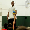 "Arron Afflalo, an NBA player of the Denver Nuggets, points to answer a question at South Boulder Rec Center. Afflalo came to visit a kids basketball camp Tuesday morning to sign autographs, play and talk with the kids. August 7, 2012. Rachel Woolf/ For the Daily Camera. For more photos, go to  <a href=""http://www.dailycamera.com"">http://www.dailycamera.com</a>."