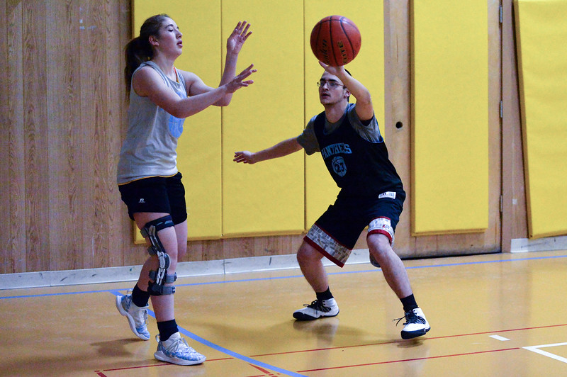 Joel Moline | The Sheridan Press <br /> Arvada-Clearmont's John Klier, right, plays defense on Ashlynn Fennema in a drill during practice Thursday, Dec. 5, 2019.